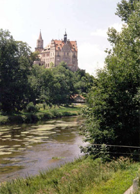 The Donau at Sigmaringen, with the castle in the background.