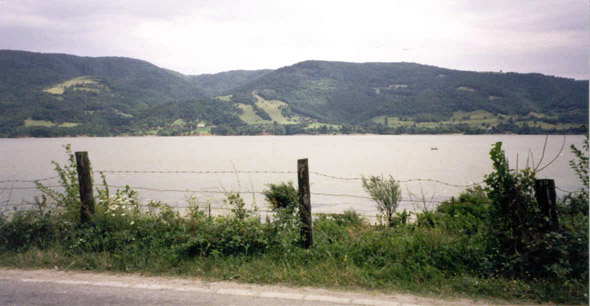 Between Gates Two and Three, looking across the Donau to Serbia