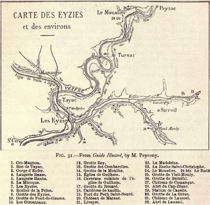 Les Eyzies map