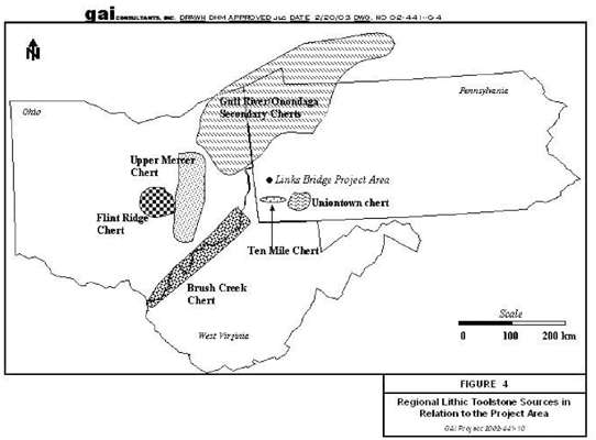 Meadowcroft Rockshelter flint sources map