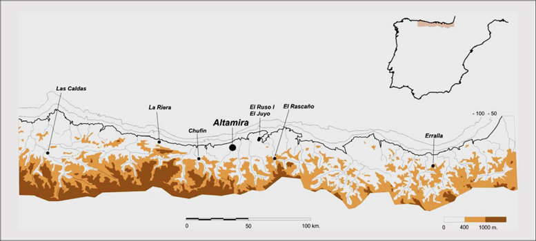 Altamira marine shells map