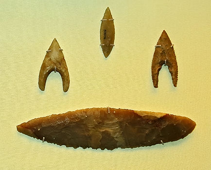 Arrowheads and knife